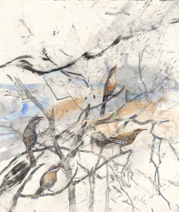 John Wolseley   After fire – spiny-cheeked honeyeaters at Lake Monibeong 2009–11 (detail)  watercolour, charcoal, pencil, gouache and brown chalk  (151.7 x 128.9 cm)  Collection of Sir Roderick Carnegie AC and Family  © John Wolseley