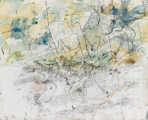 John Wolseley  History of the Whipstick Forest with ephemeral swamps and gold bearing reefs 2011 (detail)  watercolour, charcoal, pencil and on 2 sheets  (a–b) 233.5 x 286.6 cm (overall)  Collection of Sir Roderick Carnegie AC and Family  © John Wolseley