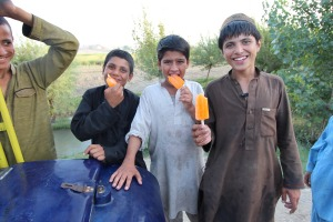 Jalalabad ice cream boys (left to right) Irfan, Saludin and Zabi. Picture supplied by George Gittoes.