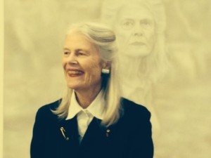Penelope Seidler with her Fiona Lowry portrait on the day it won the 2014 Archibald Prize