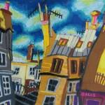 Sunset and buildings, Paris, by Bernard Ollis